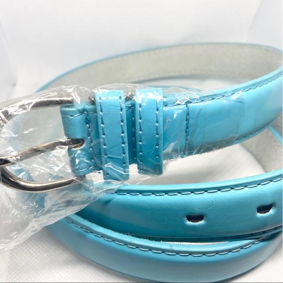 Sky Blue Genuine Leather Belt
